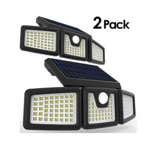 Solar Motion Sensor Light Super Bright Outdoor 128 LED Security Lighting White, 2PK