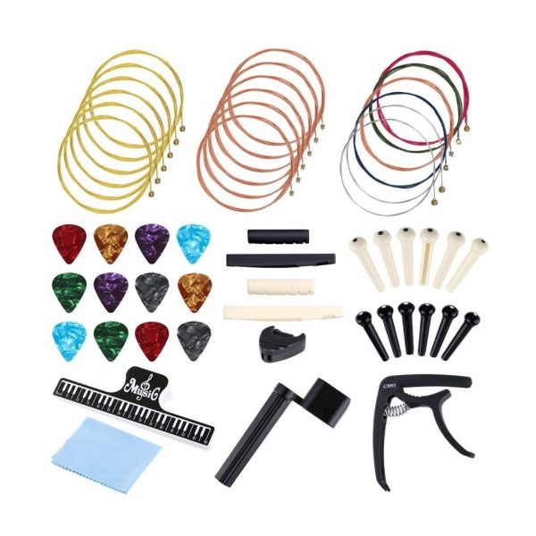 51 PCS Acoustic Guitar Strings Kit Include Guitar Strings, Guitar Capo, Music Book Clip, Guitar Picks, String Winder, Bridge Pins, Cleaning Cloth