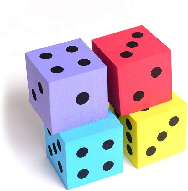 Foam dot dice, Large, 4pcs/Pack. Square