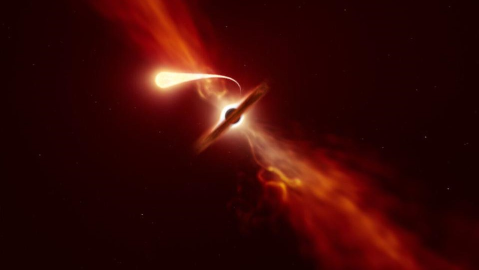 Star being sucked in by a black hole