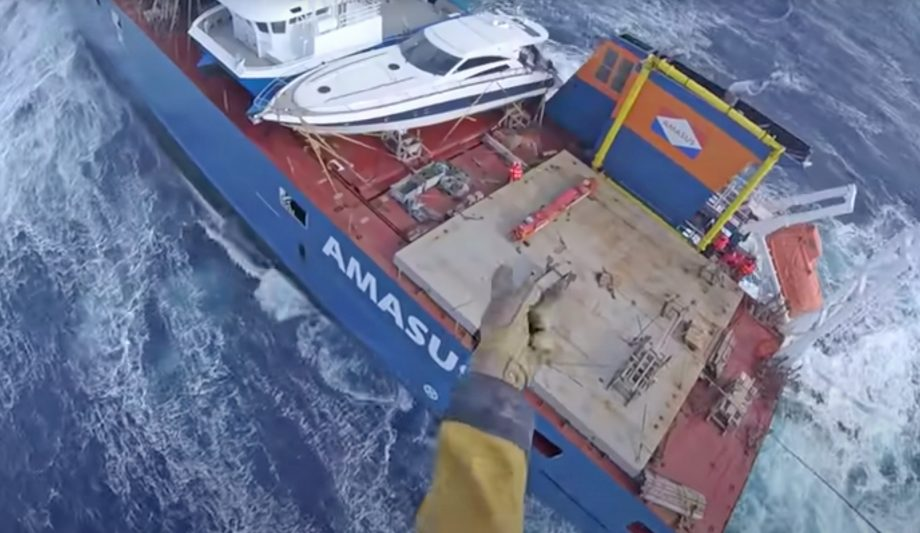Rescue operation – The crew of a Dutch cargo ship was evacuated in stormy weather