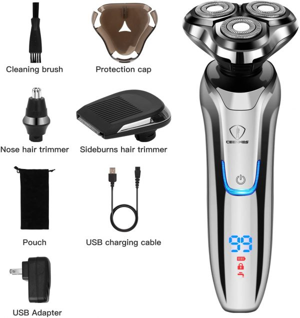 Electric Shaver for Men 3 in 1 Electric Razor Nose Hair Trimmer and Beard Trimmer