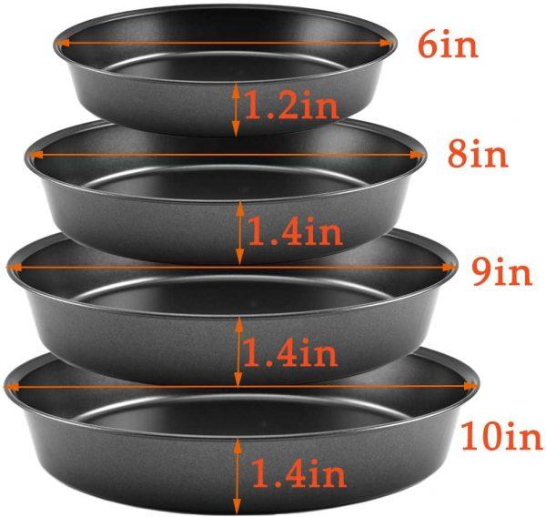 4 Pcs Non-stick Pizza Baking Pan 6-Inch,8-Inch,9-Inch,10-Inch diameter